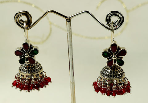Silver earrings with semi-precious stones design 7