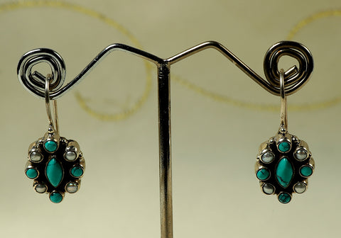 Daily wear silver earrings with semi-precious stones design 20