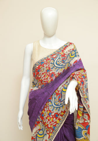 Assam Silk Printed Kalamkari Saree Design 51