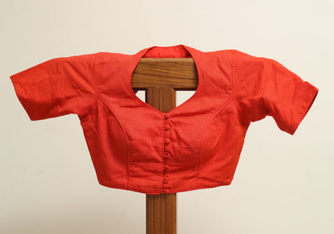 Plain Orange Cotton Ready made Blouse