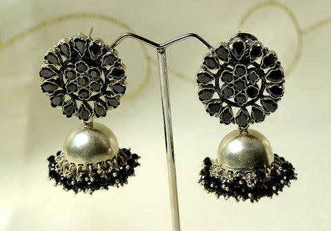 Silver jhumkas with semi-precious stones design 4