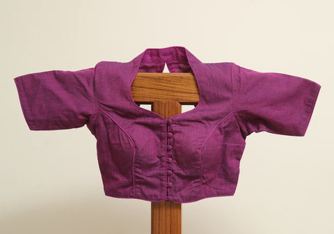 Plain Purple Cotton Ready made Blouse