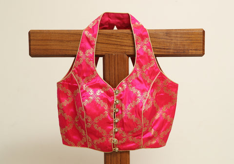 Pink Benarasi Ready made Blouse