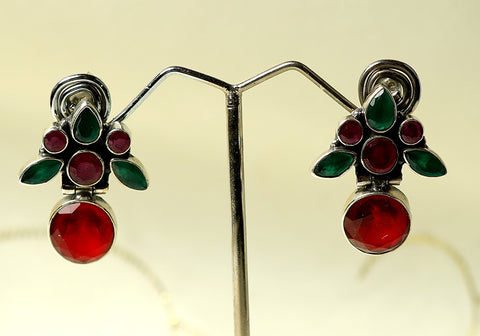 Daily wear silver earrings with semi-precious stones design 2