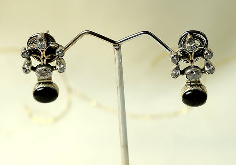 Daily wear silver earrings with semi-precious stones design 22