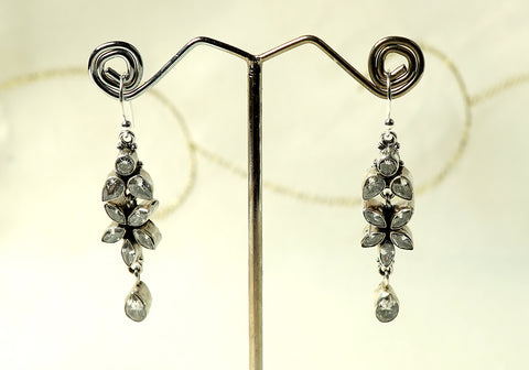 Daily wear silver earrings with semi-precious stones design 23