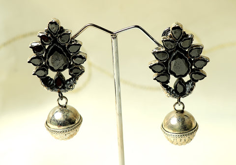 Silver jhumkas with semi-precious stones design 2