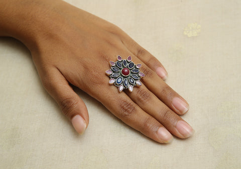 Adjustable Silver Ring with Stones Design 14