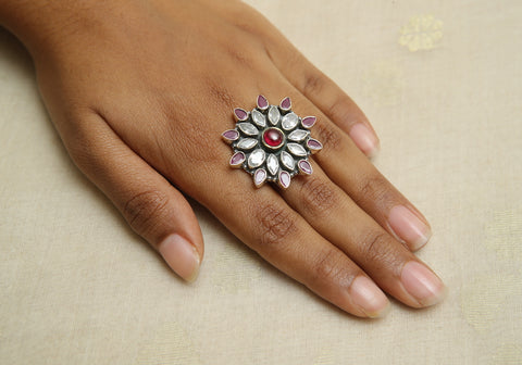 Adjustable Silver Ring with Stones Design 20