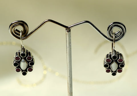 Daily wear silver earrings with semi-precious stones design 21