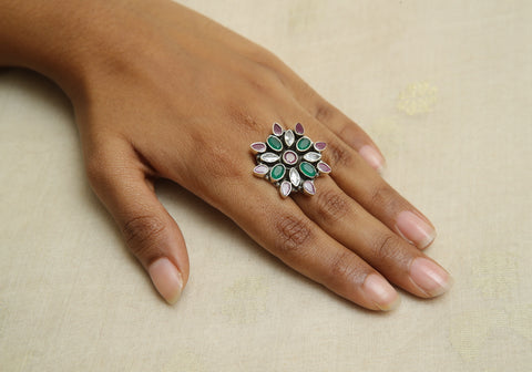 Adjustable Silver Ring with Stones Design 16