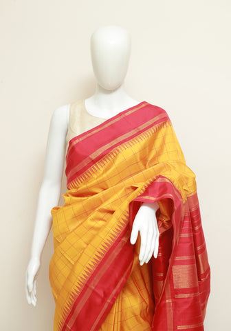 Yellow and Red Kanchipuram Silk Saree