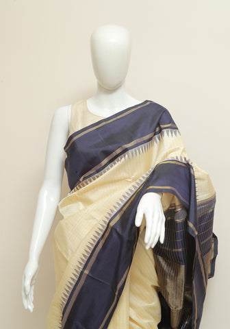 Off-White and Navy Blue Kanchipuram Silk Saree