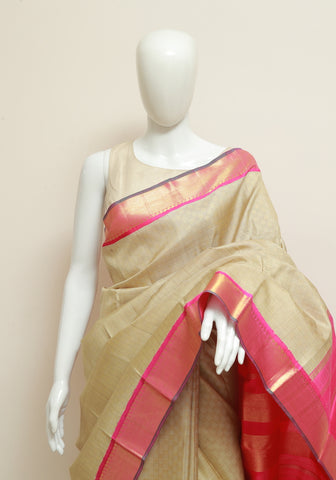Light Brown and Pink Kanchipuram Silk Saree