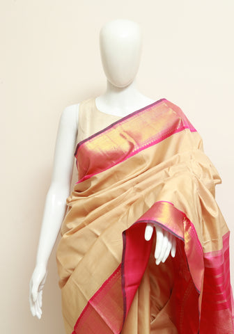 Cream and Pink Kanchipuram Silk Saree