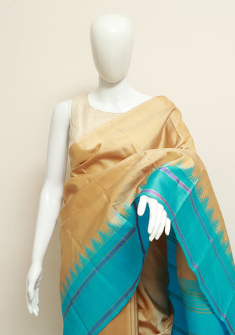 Light Brown and Blue Kanchipuram Silk Saree