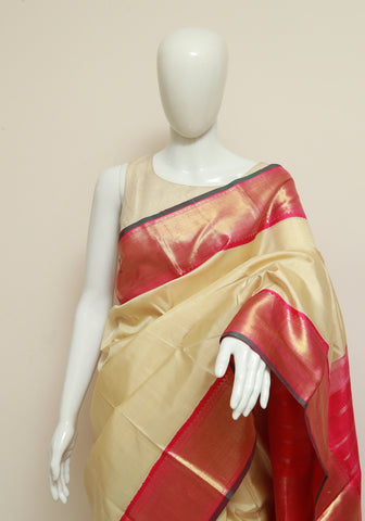 Off White and Pink Kanchipuram Silk Saree