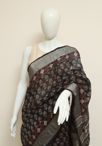 Black Ajrakh Linen Saree