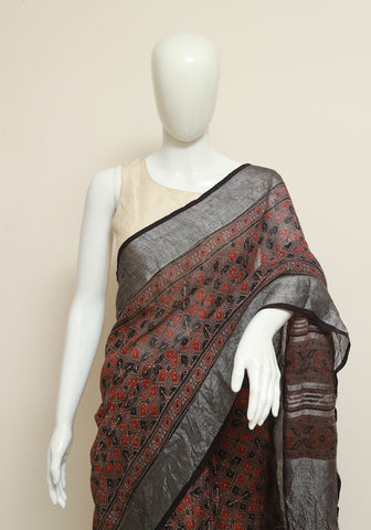 Brown Ajrakh Linen Saree