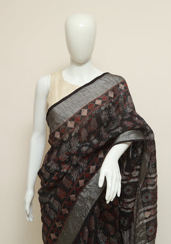 Black Ajrakh Linen Saree Design 2