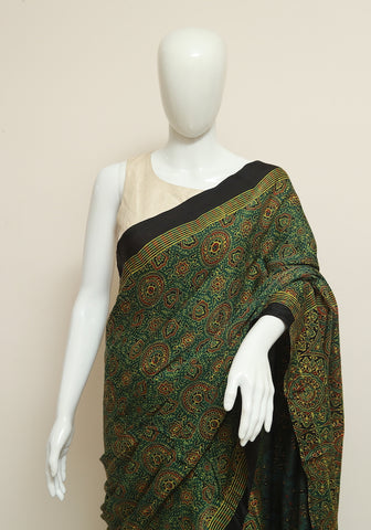 Green Ajrakh Modal Silk Saree