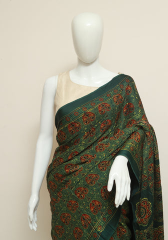 Green Ajrakh Modal Silk Saree Design 2