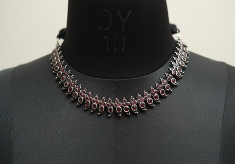 Sterling Silver Necklace with Stones Design  15