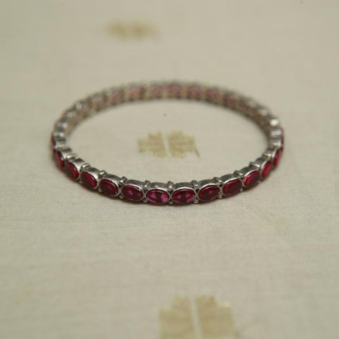 Silver Bangle with Stones Design 23