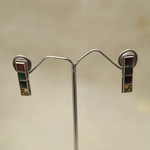 Sterling Silver Earrings  With Stones Design 162