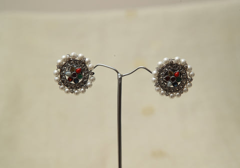 Sterling Silver Earrings  With Stones Design 137