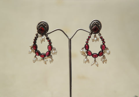 Sterling Silver Earrings  With Stones Design 138