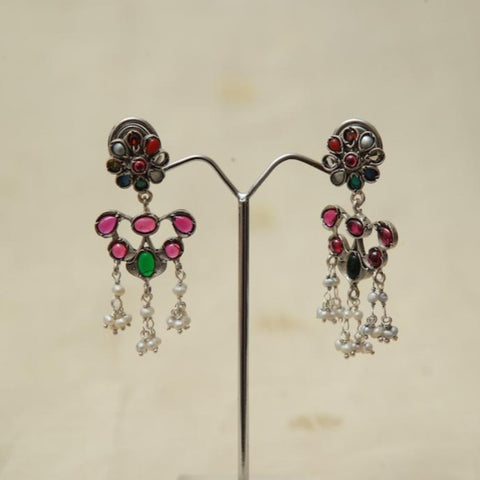 Sterling Silver Earrings  With Stones Design 176