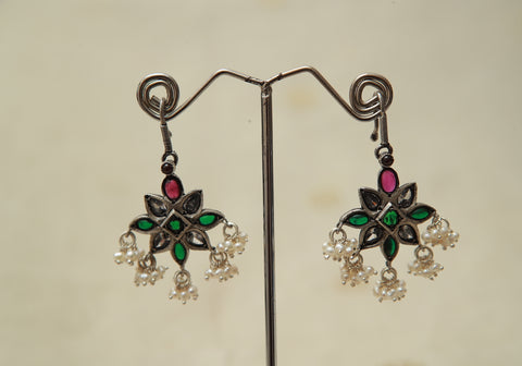 Sterling Silver Earrings  With Stones Design 136