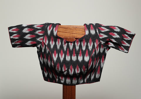 Black and Maroon Ikat Blouse