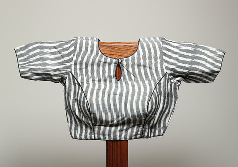 Grey and White Ikat Blouse