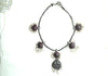 Silver Cab Stones Necklace Design 3
