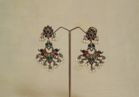 Sterling Silver Earrings  With Stones Design 72