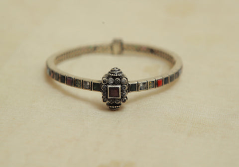 Silver Bangle with Stones Design 8