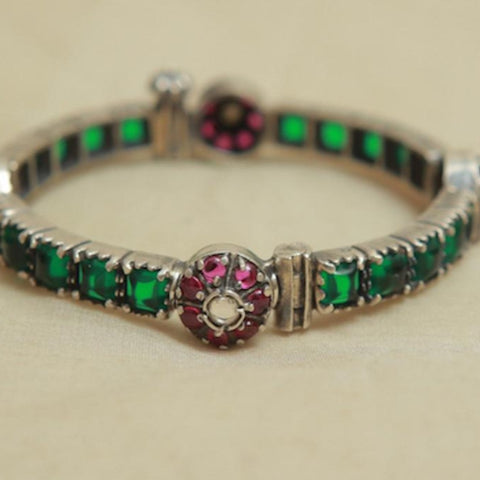 Silver Bangle with Stones Design 14