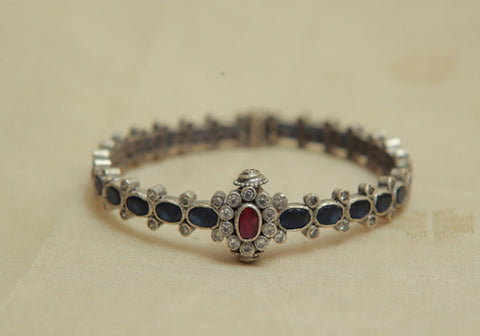 Silver Bangle with Stones Design 16