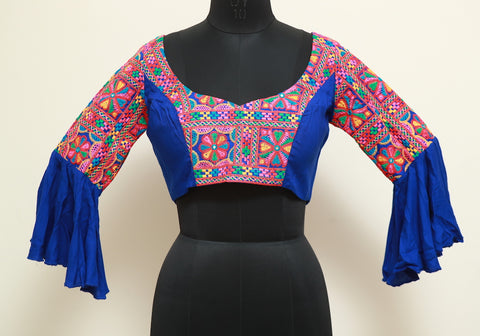 Blue Kutch Work Blouse Design 8