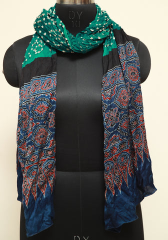 Bandini with Ajrakh Modal Silk Stole Design 1