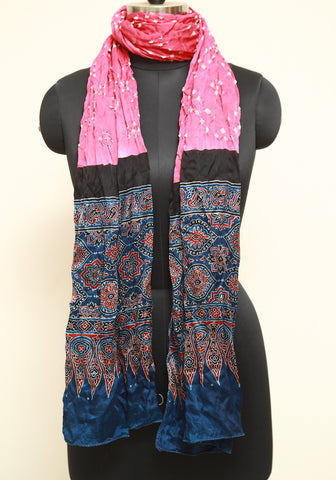 Bandini with Ajrakh Modal Silk Stole Design 5