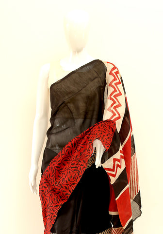 Block Printed Chanderi Saree Design 11
