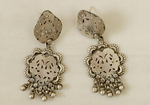 Silver earrings with jali work design 2