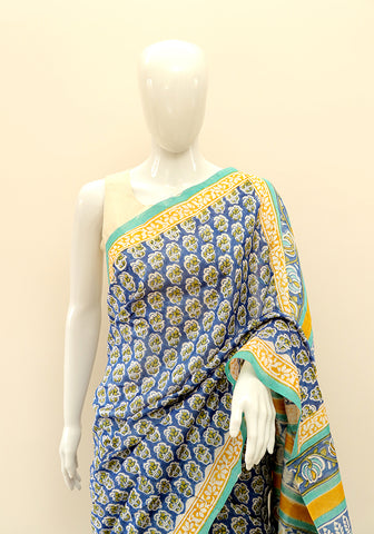 Block Printed Chanderi Saree Design 15