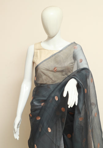 Grey Handloom Muslin and Eri Silk Saree