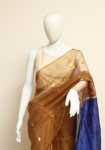 Gold and Blue Handloom Muslin and Eri Silk Saree