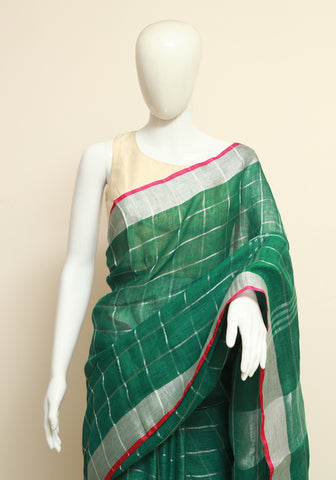 Green Linen Checked Saree