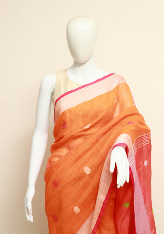 Orange Linen Woven Jamdani Saree